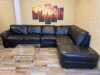 Big Family Black Leather Corner Sofa