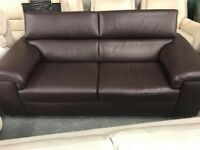 High retail chocolate brown leather sofa