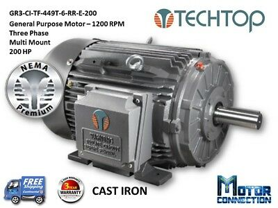 200 HP Electric Motor, GEN PURP, 1200 RPM, 3-Phase, 449T, Cast Iron, NEMA Prem