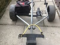 """Powercaddy """"freeway titanium """". electric trolley with 27 hole battery and charger"""