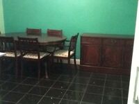 Dining table, 6 chairs and matching sideboard