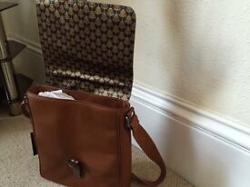 TED Baker Mens Messenger Tan Leather