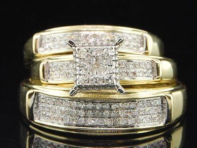 - Mens/Ladies 10K Yellow Gold Diamond Engagement Ring Wedding Band Bridal Set Trio