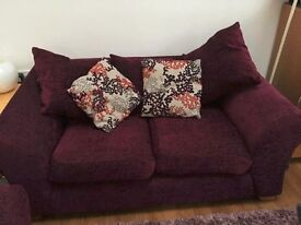 Two lovely Plum Sofa's, 3 & 2 Seater, £150 for the pair, collection only