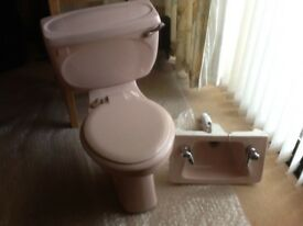 WC & matching wash basin - pink (Johnsons Astura 1988) with original chrome taps