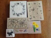 A Selection of Butterfiles and Flowers rubber stamps