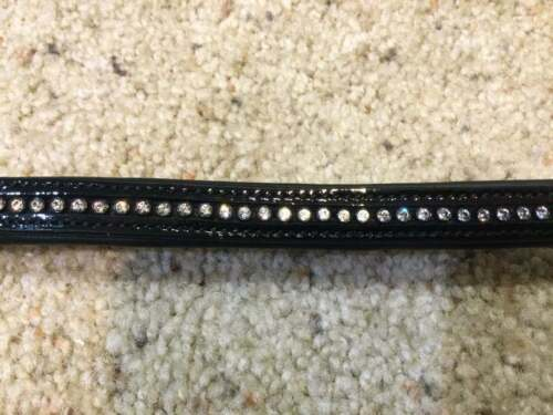 """New Vespucci Weymouth Patent Leather Duke Crystal Bling Brow Band Black 17"""" Full"""