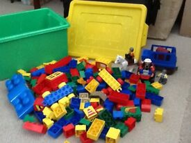 Over 150 chunky and colourful Lego bricks in a storage tub, plus extra sets, IMMACULATE
