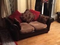 Leather and cloth suite including 3 seater and 2 seater sofas and 2 armchairs as new