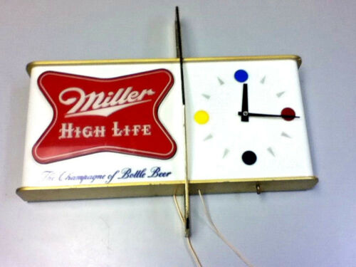 Miller high life beer sign 1957 shark fin wall clock lighted back bar light Ml4