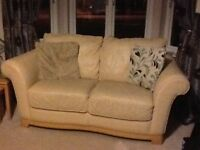 Cream Italian leather couches 3 seater and 2 seater