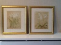 2 x gold framed pictures