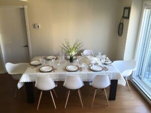 Set of 6 White Eames Chairs