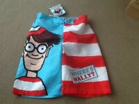 A NEW & NOT WORN PAIR WHERES WALLY? SWIM SHORTS AGE 9-10 YEARS (TAG STILL ON)