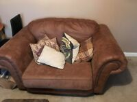 Abbey Love Three seater settee and Chair