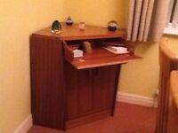 Large corner writing desk, solid wood.