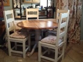 Shabby chic dining table and 4chairs