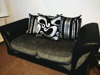 Leather Effect/Chenille Two Seater Sofa