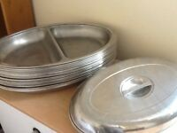 26 Stainless steel oval serving dishes with lids