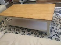 Wooden coffee table with a white shelf underneath