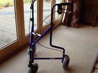 Three wheel mobility walker, bright royal blue.