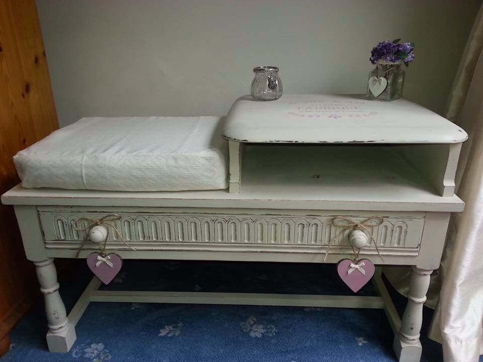 Shabby Chic Telephone table cream with pink stencilling