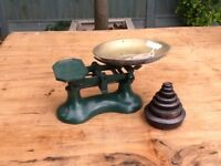 Charming set of kitchen balance. Scales and weight set