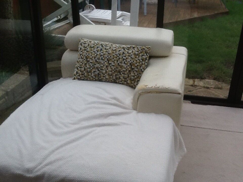 White leather 3 seater sofa with chaise | in Bournemouth ...