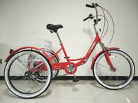 "Adults tricycle, folding frame, 24""; wheels, 6-speed shimano gears, SCOUT , adult trikes"