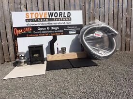 SUMMER STOVE SALE !!!!! multi fuel stove with flexible chimney liner slate hearths oak beam