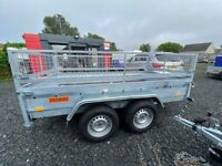 BRAND NEW MODEL 10x5 MASTER TRAILER 2700KG MAM DOUBLE AXLE WITH LOADING RAMPS AND 40CM MESH CAGE