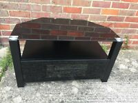 Black Corner Glass TV Stand