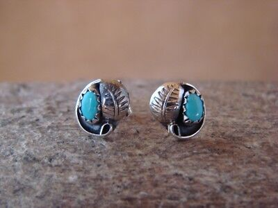 Native American Sterling Silver Turquoise Feather Post Earrings! Navajo Indian