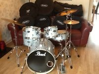 Pearl Export Drum Kit 2015 Model with full case set,Paiste Cymbals and hardware