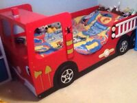 Kids single fire engine bed