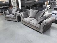 Rimni Grey Plush 3 + 2 Seater Sofa Couch Suite BRAND NEW