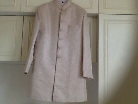 Men's jacket and trousers (fancy wear) jacket in cream raw silk with plain silk trousers new £80
