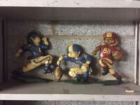 Vintage 3 piece metal sport art Memorabelia American football. Mancave etc