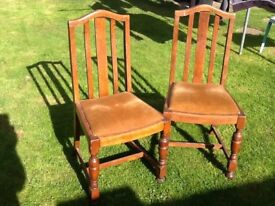 Pair Solid Oak Dinning Chairs