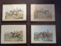 Victorian hunting prints.
