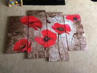 Canvas poppy painting