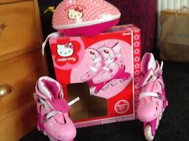 Girls Hello Kitty Roller Boots Adjustable Size 13-3 plus Helmet