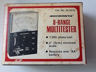 Micronta 1000 Ohmsvolts Multi Tester Wleads Cat 22-027u Radio Shack