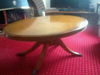 Oval yew coffee table
