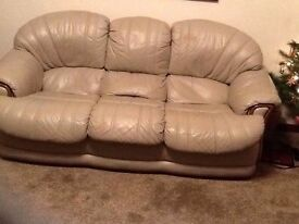 2 & 3 Seater leather sofa (stone colour)