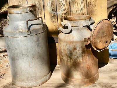 2 VINTAGE MILK CHURNS  / garden planter  / weddings /barge ware -
