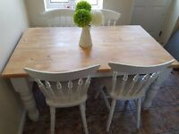 Table and 4 Chairs Shabby Chic Rustic Farmhouse Solid Pine Annie Sloan