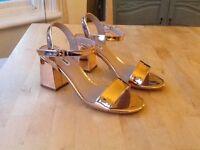 Dune ladies sandal - mylow two part block heel in rose gold, size 6