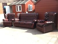 Leather chesterfield 3 piece suite in stunning condition 3 seater 1 chair 1 reclining chair CAN DEL