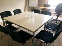Office furniture for sale, comprising two tables, eight fabric chairs and one office desk with seat